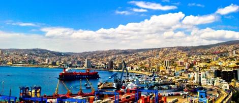 Vista panorámica de la ciudad de Valparaíso, Chile. Un día antes del 27/F.